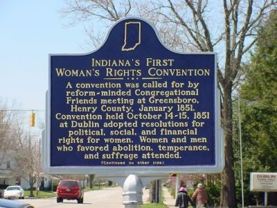 Indiana's First Woman's Rights Convention Marker, Side 1 image. Click for full size.