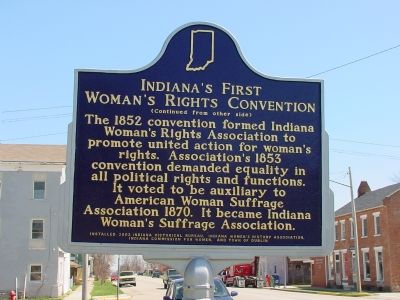 Indiana's First Woman's Rights Convention Marker, Side 2 image. Click for full size.