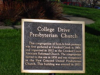 College Drive Presbyterian Church Marker image. Click for full size.