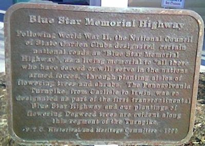 Blue Star Memorial Highway Marker Plaque image. Click for full size.