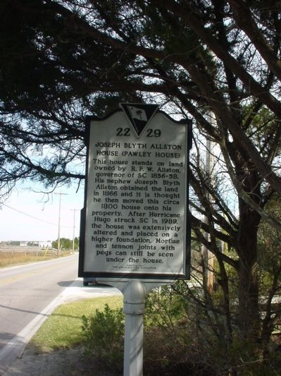 Joseph Blyth Allston House (Pawley House) Marker image. Click for full size.