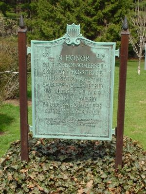 Somerset County World War I Memorial Marker image. Click for full size.
