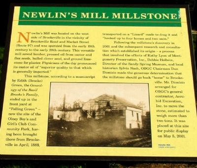 Newlin's Mill Millstone Marker image. Click for full size.