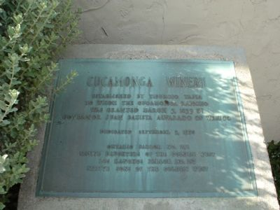 Cucamonga Winery Marker image. Click for full size.