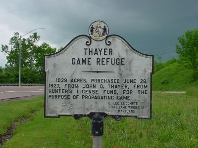 Thayer Game Refuge Marker image. Click for full size.