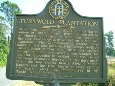 Turnwold Plantation Marker image. Click for full size.