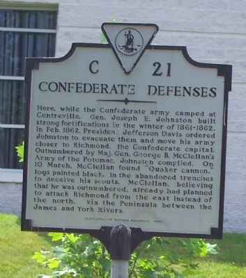 Confederate Defenses Marker image. Click for full size.