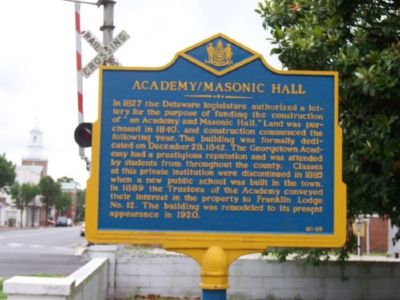Academy / Masonic Hall Marker image. Click for full size.