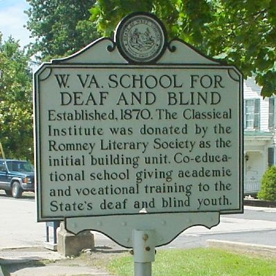 W. Va School for the Deaf and Blind Marker image. Click for full size.