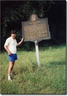Joseph Beeman and the first marker he took a picture of image. Click for full size.
