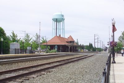 View of the Current Manassas Railroad Depot from the Marker image. Click for full size.