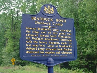 Braddock Road - Dunbar's Camp Marker image. Click for full size.