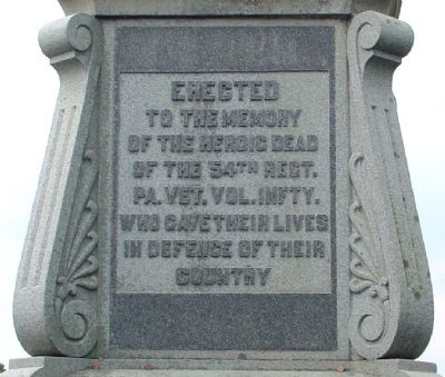 54th Pennsylvania Monument Inscription image. Click for full size.