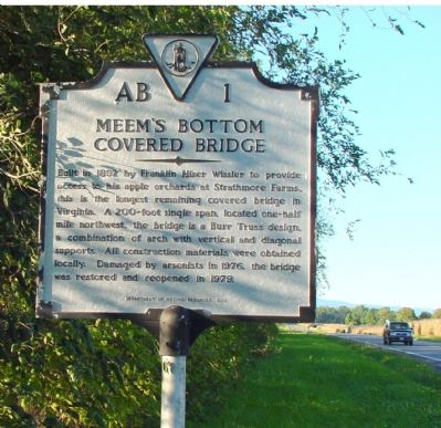 Meem's Bottom Covered Bridge Marker image. Click for full size.