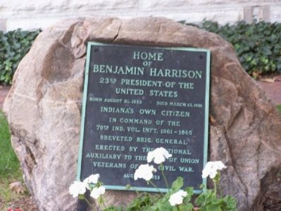 Plaque on a rock in front of the Harrison home. image. Click for full size.