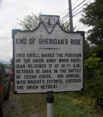 End Of Sheridan's Ride Marker image. Click for full size.