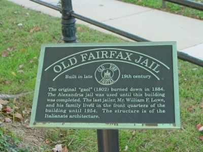 Old Fairfax Jail Marker image. Click for full size.