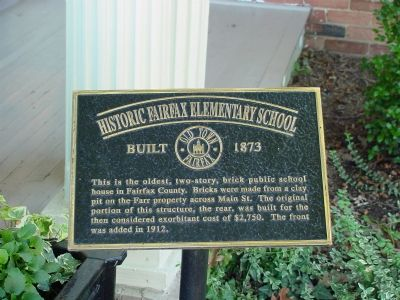 Historic Fairfax Elementary School Marker image. Click for full size.