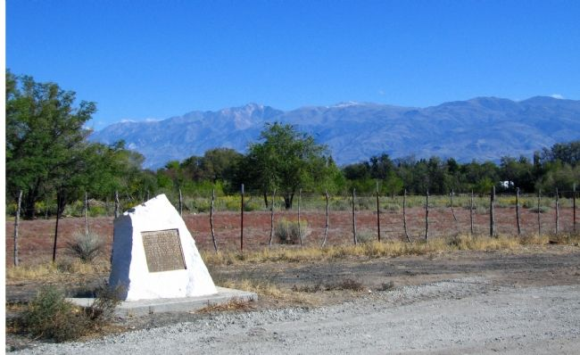 San Francis Ranch Marker With the Sierra Mountains to the West image. Click for full size.