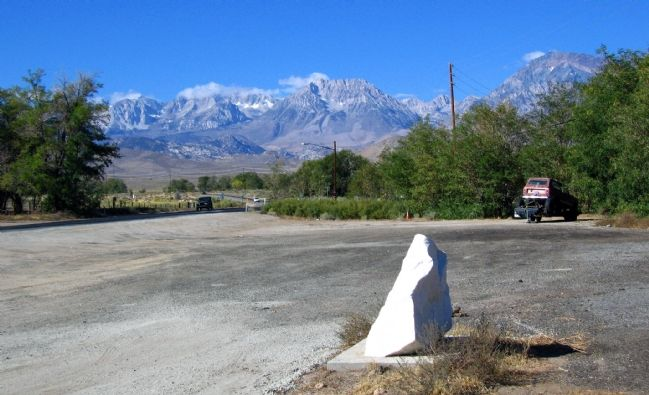 San Francis Ranch Marker and the White Mountains to the East image. Click for full size.