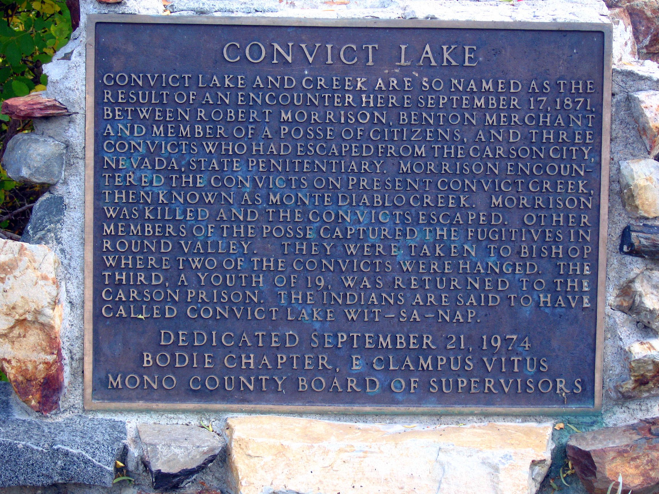 Convict Lake Marker