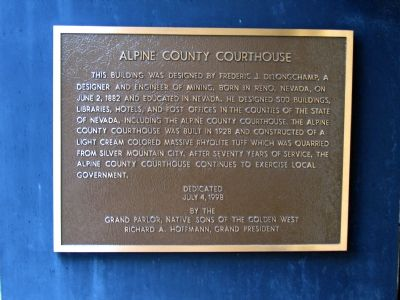 Alpine County Courthouse Marker image. Click for full size.