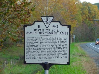 "Death of 2d Lt. James ""Big Yankee"" Ames Marker image. Click for full size."