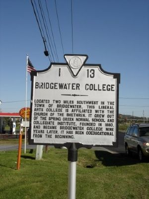 Bridgewater College Marker image. Click for full size.