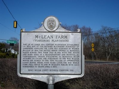 McLean Farm (Yorkshire Plantation) Marker image. Click for full size.