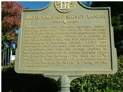 Birthplace of Sidney Lanier Marker image. Click for full size.