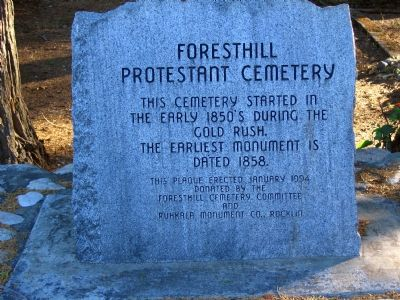 Foresthill Protestant Cemetary Marker image. Click for full size.