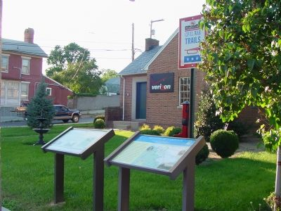 Markers in Front of the Town's Telephone Exchange image. Click for full size.