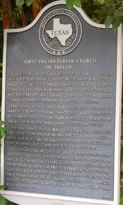 First Presbyterian Church of Taylor Marker image. Click for full size.