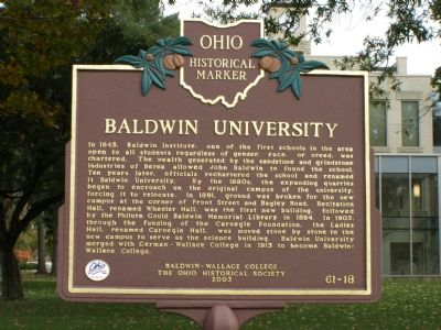 Baldwin University Marker image. Click for full size.