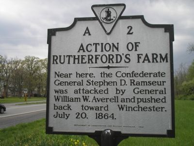 Action of Rutherford's Farm Marker image. Click for full size.
