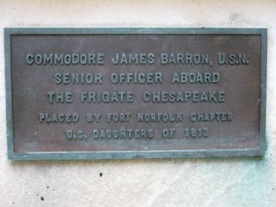 Marker on Commodore James Barron's Grave image. Click for full size.