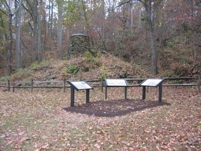Catharine Furnace Ruins and the Markers at Tour Stop Six image. Click for full size.