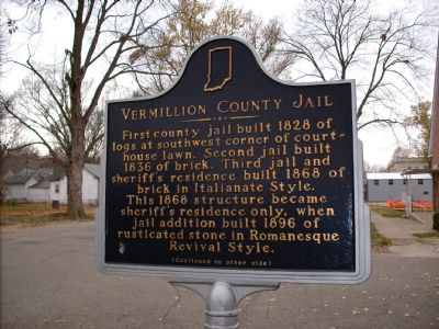 Vermillion County Jail - - Indiana Marker image. Click for full size.