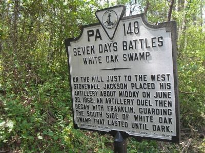 Seven Days Battles  -  White Oak Swamp marker image. Click for full size.