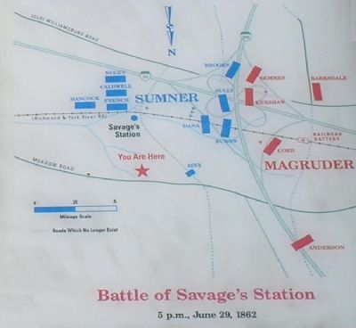 Battle of Savage's Station Battle Map image. Click for full size.