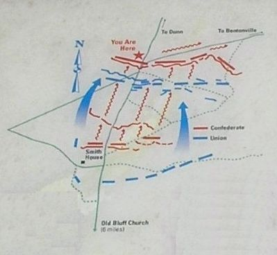 Battle map from Battle of Averasboro marker image. Click for full size.
