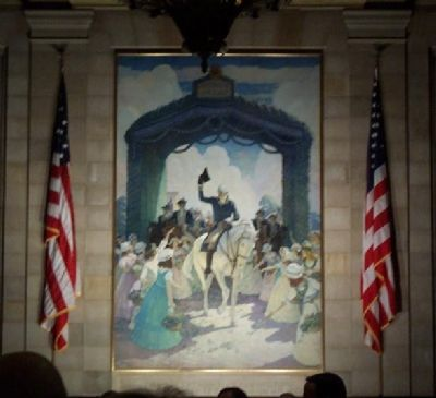 This is the N.C. Wyeth mural of Washington being greeted by the 'ladies of Trenton' under the arch. image. Click for full size.