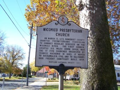 Wicomico Presbyterian Church Marker image. Click for full size.