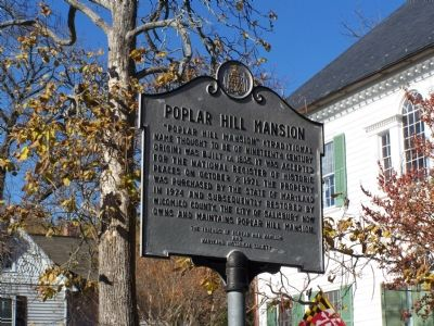Poplar Hill Mansion Marker image. Click for full size.