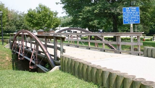 Bow String Arch Truss Bridge and Marker image. Click for full size.