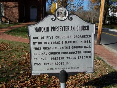 Manokin Presbyterian Church Marker image. Click for full size.