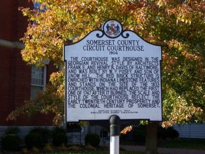 Somerset County Circuit Courthouse 1904 Marker image. Click for full size.