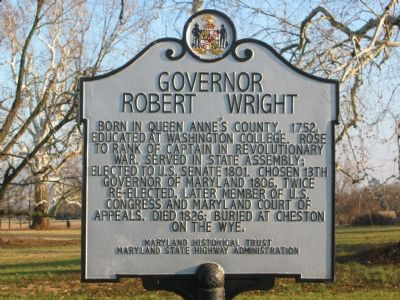 Governor Robert Wright Marker image. Click for full size.