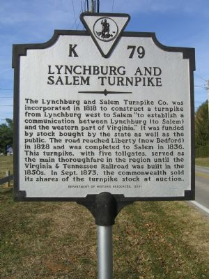 Lynchburg and Salem Turnpike Marker image. Click for full size.
