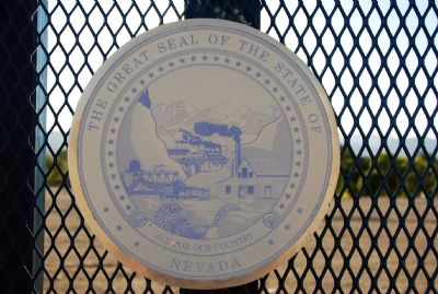 Close up of State seal on the Marker image. Click for full size.